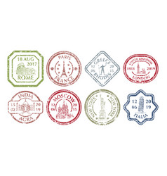 famous places on stamp vector image