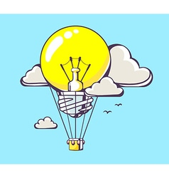 flying yellow lightbulb balloon on blue b vector image