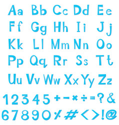Font design for english alphabets in blue vector