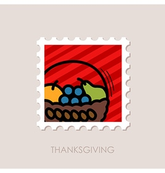 Fruit Basket stamp Harvest Thanksgiving vector