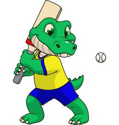 funny crocodile playing cricket vector image