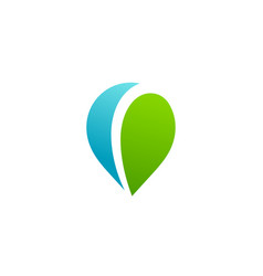Geotag with eco leaves or location pin logo icon vector