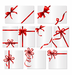 gift cards ribbons frames or banners with red vector image