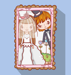Girl and boy marrige picture with plants vector