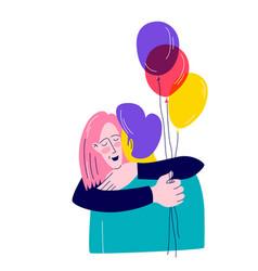 girl hugs boyfriend holds balloons vector image