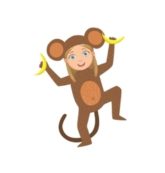 Girl Wearing Monkey Animal Costume vector