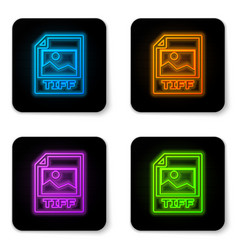 glowing neon tiff file document icon download vector image