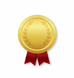 Gold medal with red ribbon award for winner prize vector