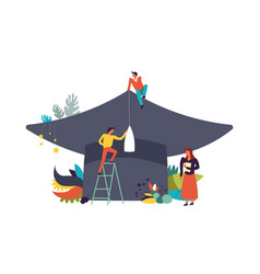 graduation hat and people working by it vector image