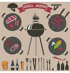 grill menu collection vector image