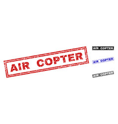 grunge air copter scratched rectangle stamp seals vector image