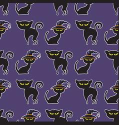 halloween black cat seamless pattern vector image