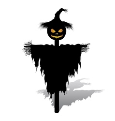 Halloween scarecrow with pumpkin vector