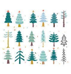 hand drawing winter background with fir tree vector image