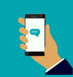 hand holding a phone with incoming message vector image