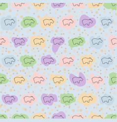 Hippo seamless pattern hippopotamus vector
