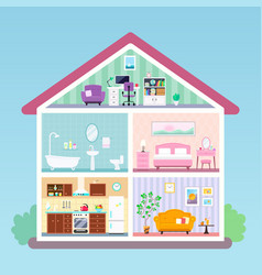 house inside cross section rooms with furniture vector image