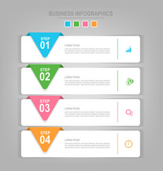 Infographics template four steps on squares vector