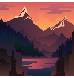 Landscape with huge red mountains vector