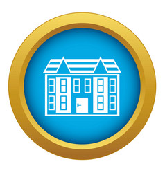 large two-storey house icon blue isolated vector image
