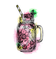 Lemonade with raspberry in mason jar vector