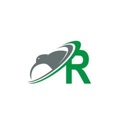 Letter r with kiwi bird logo icon design vector