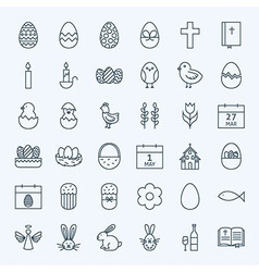 Line Happy Easter Holiday Icons Set vector