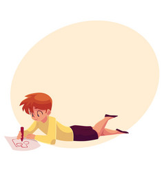 little boy lying on floor drawing car truck with vector image