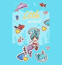 little mermaid kawaii sticker cartoon template vector image