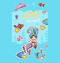 Little mermaid kawaii sticker cartoon template vector