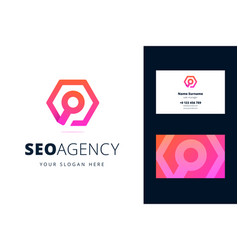 Logo and business card template for seo agency vector