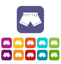 Male underwear icons set flat vector