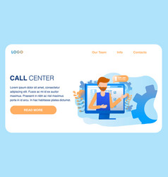 man wear headset call center service male worker vector image