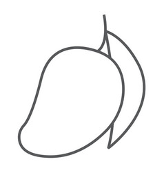 Mango thin line icon fruit and vitamin tropical vector