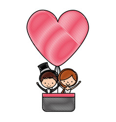 married couple traveling in balloon avatar vector image
