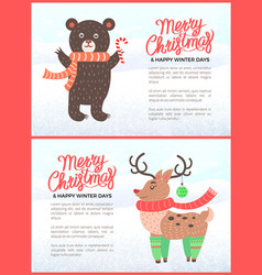 merry christmas holiday banners with bear and deer vector image
