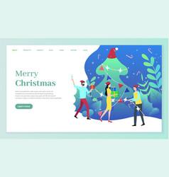 Merry christmas people pine tree celebrating vector