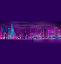 modern city neon cartoon night landscape vector image