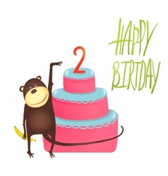 Monkey Cake Two Years Old with Happy Birthday vector image
