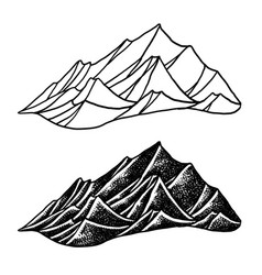 Mountains white background vector