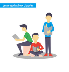 people reading book character flat vector image