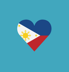Philippines flag icon in a heart shape in flat vector