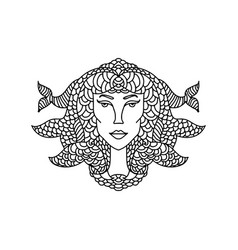 pisces girl portrait zodiac sign for adult vector image