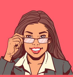 Portrait attractive business woman holding vector