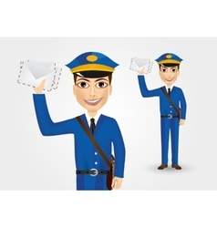 postman-holding-envelopes vector image
