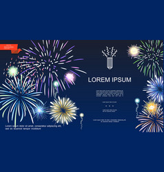 realistic holiday fireworks template vector image