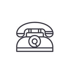 retro phone line icon sign vector image