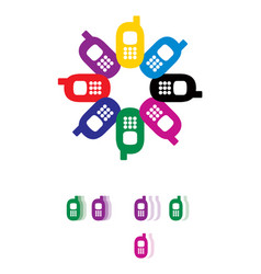 reyro gadgets colored mobile phones set vector image