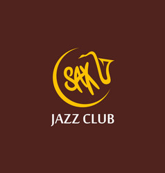 round emblem of music jazz club with sax vector image