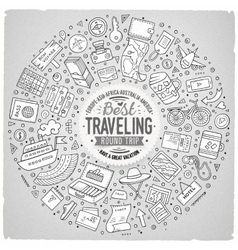 Round frame Travel cartoon objects symbols and vector